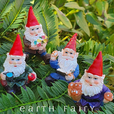 Sitting Gnomes, Set of 4, Garden Setting, from The Miniature Fairy Garden Gnome Collection by Earth Fairy