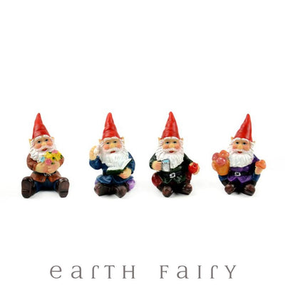 Sitting Gnomes, Set of 4, from The Miniature Fairy Garden Gnome Collection by Earth Fairy