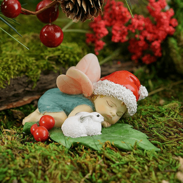 Fairies & Friends Sleeping Christmas Fairy Baby with Bunny Earth Fairy