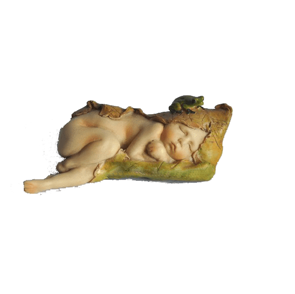 Sleeping Fairy Baby with Little Frog | Fairy Garden Figurines - Australia | Earth Fairy