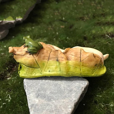 Sleeping Fairy Baby with Little Frog - Rear View | Fairy Garden Figurines - Australia | Earth Fairy