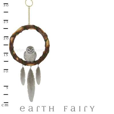 Sleeping Grey Owl Dream Catcher with Ruler | Magical Gifts & Decor | Earth Fairy