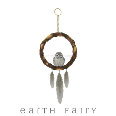 Sleeping Grey Owl Dream Catcher | Magical Gifts & Decor | Earth Fairy