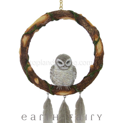 Sleeping Grey Owl Dream Catcher - Close Up View | Magical Gifts & Decor | Earth Fairy
