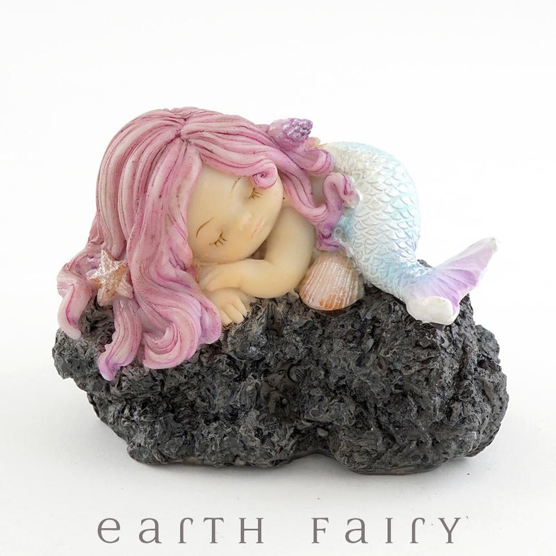 Sleeping Little Mermaid on a Rock, from The Miniature Mermaid Collection by Earth Fairy