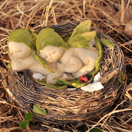 Fairies & Friends Sleeping Twin Fairy Babies in a Nest Earth Fairy