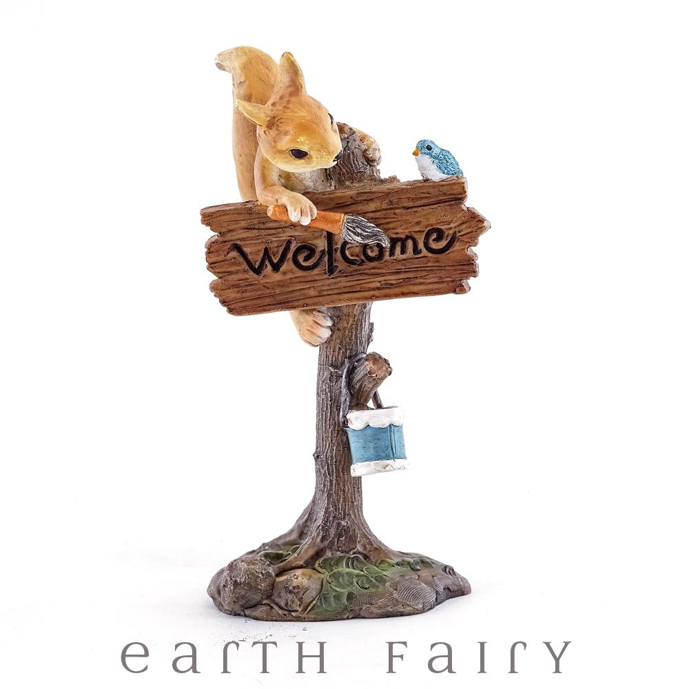 Squirrel Welcome Miniature Fairy Garden Sign, from The Miniature Sign Collection by Earth Fairy