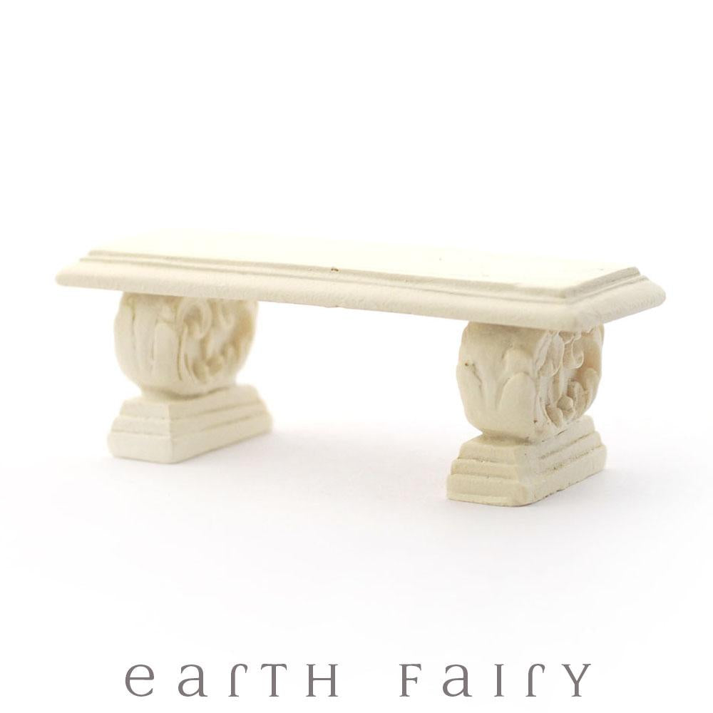 Stone Garden Bench | Fairy Garden & Dollhouse Furniture | Earth Fairy