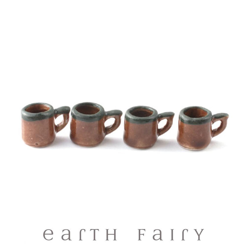 Miniature Stone Mugs, Set of 4, from The Miniature Fairy Garden Accessory Collection by Earth Fairy