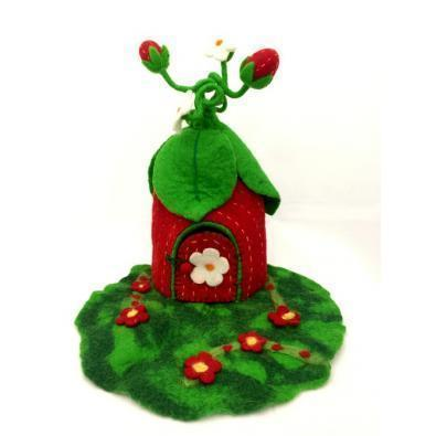 Strawberry Faery Home | Hand Felted Wool Toys - Australia | Earth Fairy