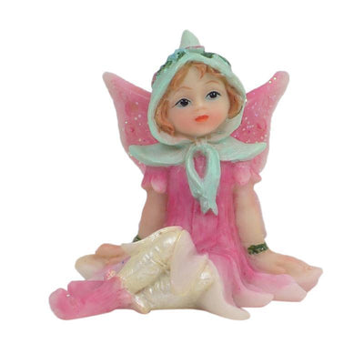 Fairy Gardens Sugar Plum Fairies - Sitting Pink Earth Fairy