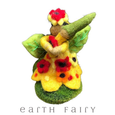 Sunflower Faerymother, Small, from The Hand Felted Wool Collection by Earth Fairy