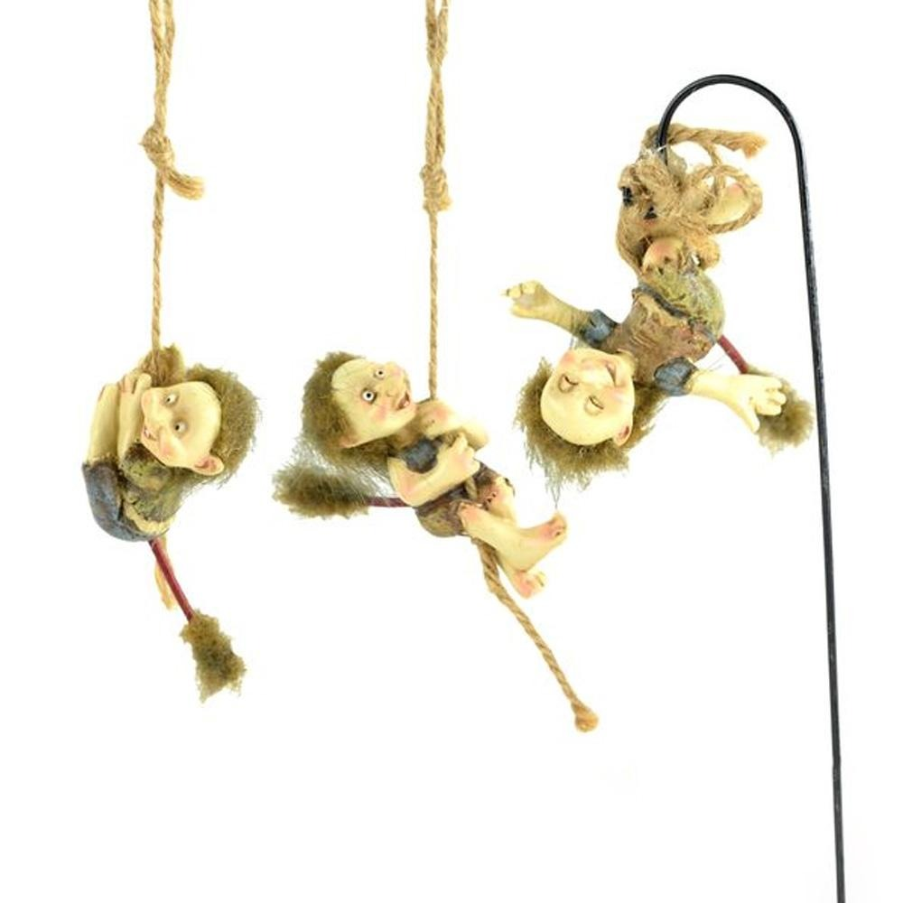 Swinging Trolls, Set of 3, from The Miniature Fairy Garden Troll Collection by Earth Fairy