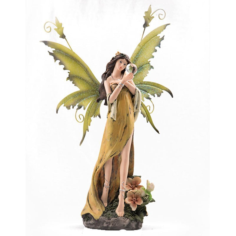 Tales of Avalon - Yellow Fairy Gazing into Crystal Ball | Fairy Figurines - Australia | Earth Fairy