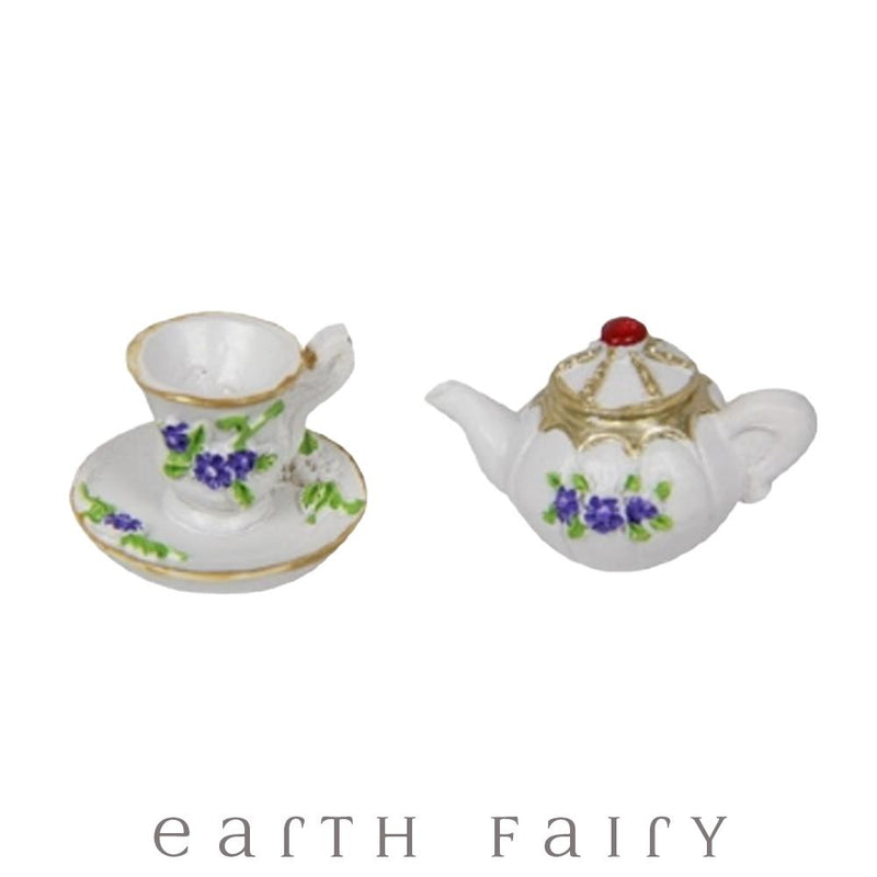 Tea Pot with Tea Cup - Lilac from the Fairy Garden Miniatures & Collectibles Collection ( Australia) by Earth Fairy