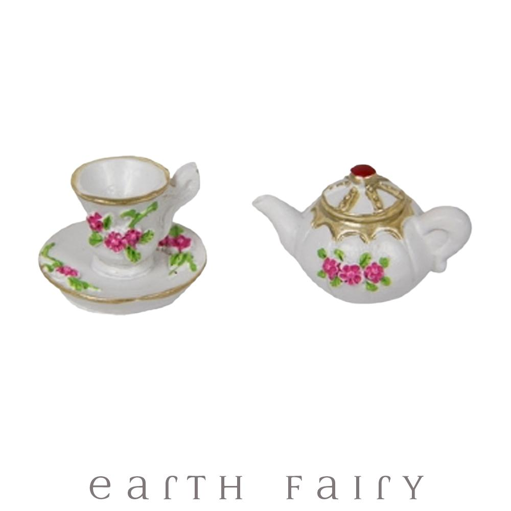 Tea Pot with Tea Cup - Pink | Fairy Garden Miniatures & Collectibles - Australia | Earth Fairy