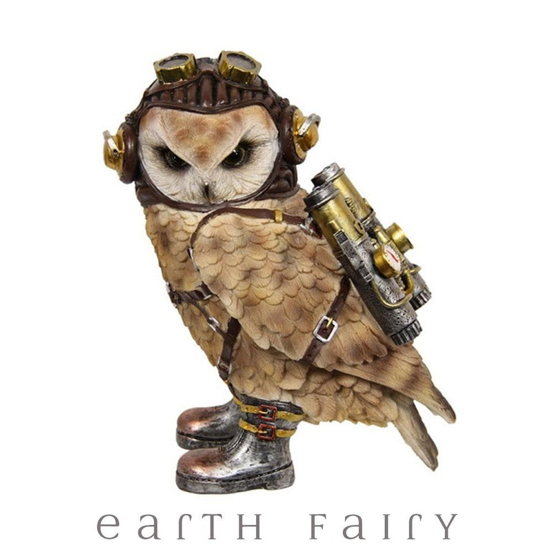 The Aviator - Steampunk Owl Figurine | Fantasy Gifts - Australia | Earth Fairy