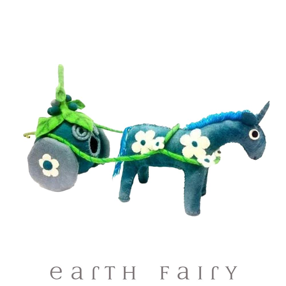 Blueberry Unicorn Drawn Carriage, Large, from The Hand Felted Wool Toy Collection by Earth Fairy