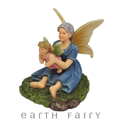Grandma Fairy with Grandchild from The Willow Fairy Garden Collection by Earth Fairy