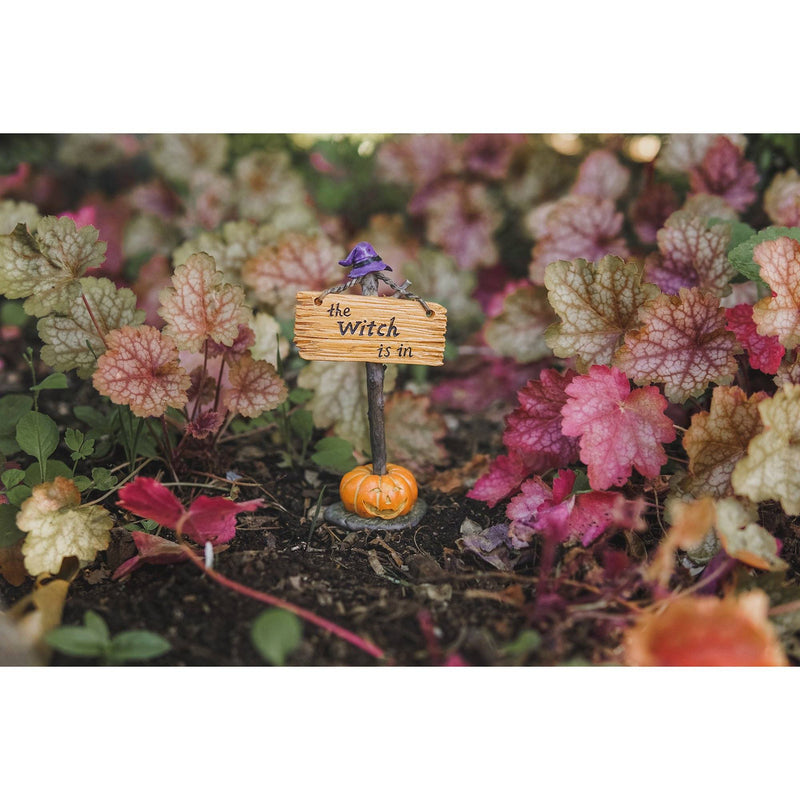 The Witch Is In Sign | Fairy Garden Landscaping - Halloween | Earth Fairy