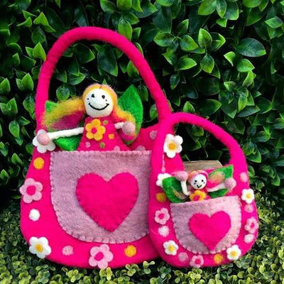The Wonder Faery Magical Bag - Pink - Showing Small and Large Size Comparison | Fairy Play - Australia | Earth Fairy