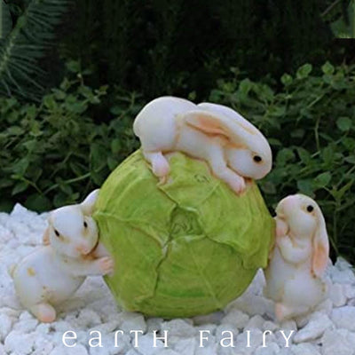 Three Bunnies on a Cabbage | Fairy Garden Miniatures - Australia | Earth Fairy
