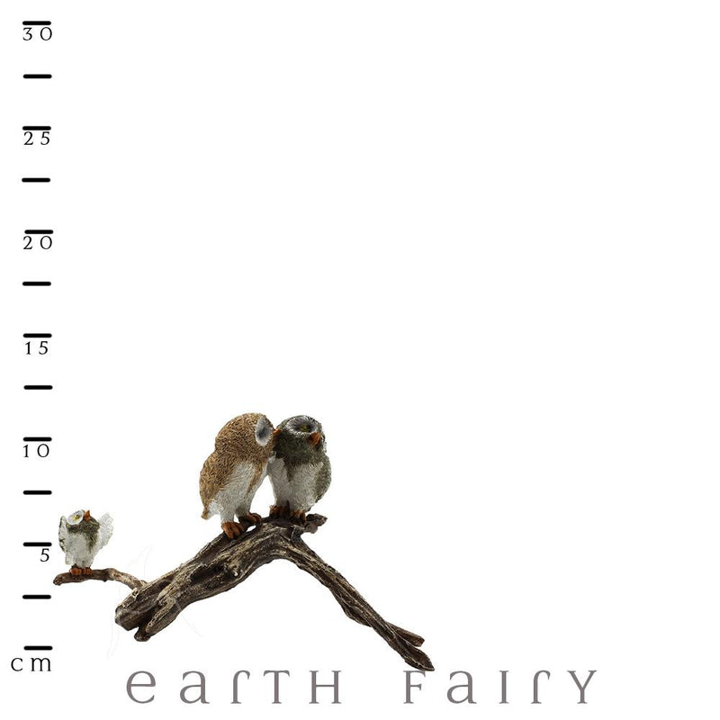 Three Owls on a Branch | Fairy Gardens & Collectible Miniatures | Earth Fairy