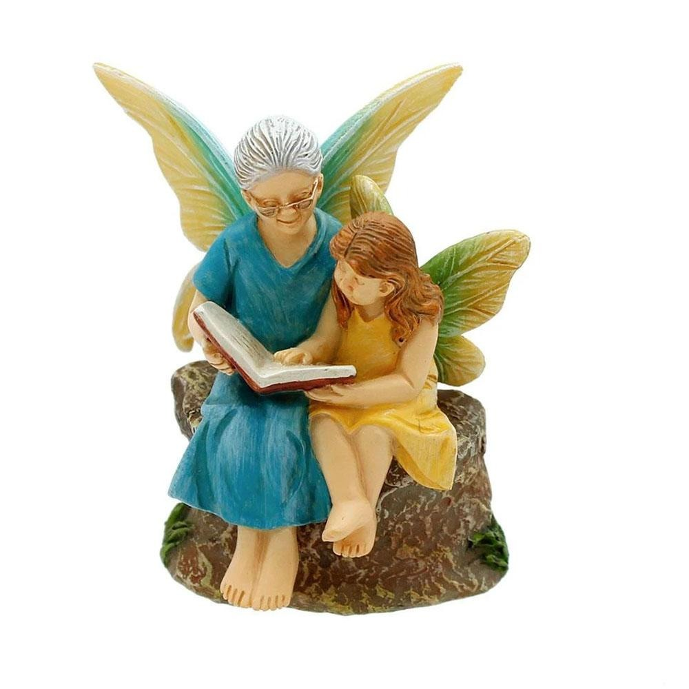 Time with Grandma Fairy Figurine from the Woodland Knoll Fairy Garden Collection by Earth Fairy