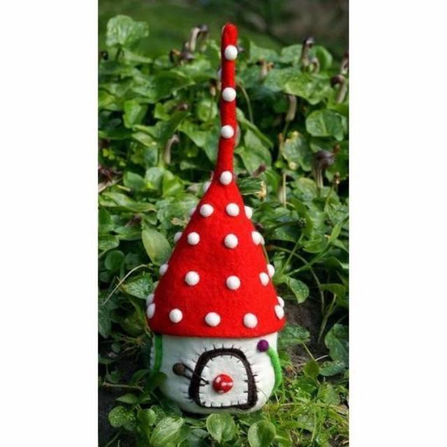Toadstool Spirit Elf Home | Fairy Play - Felt Toys Australia | Earth Fairy