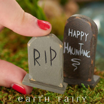 Tomstones - Set of 2 (Shown Held by Hand) from The Halloween Miniature Collection by Earth Fairy