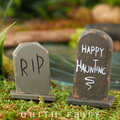 Tomstones - Set of 2 (Displayed in a Garden Setting)  from The Halloween Miniature Collection by Earth Fairy