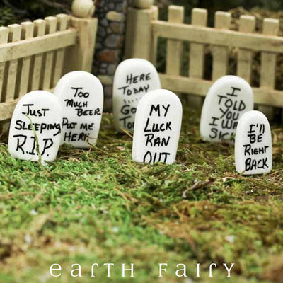 Tombstones - Set of 6 (Displayed in a garden setting) from the Halloween Miniature Collection by Earth Fairy