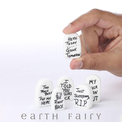 Tombstones - Set of 6 (Shown held in hand)  from the Halloween Miniature Collection by Earth Fairy