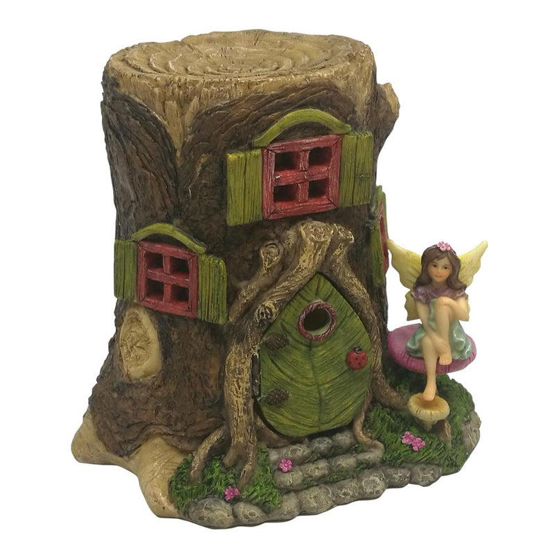 Tree Stump Fairy House with Opening Door
