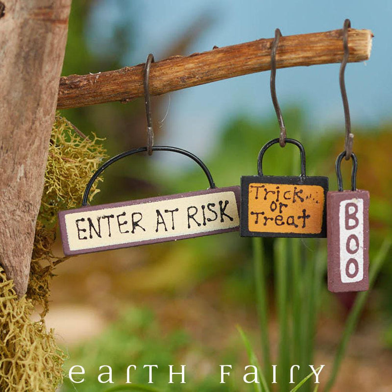 Trick or Treat Signs, Set of 3 from The Fairy Garden Miniature Halloween Collection by Earth Fairy
