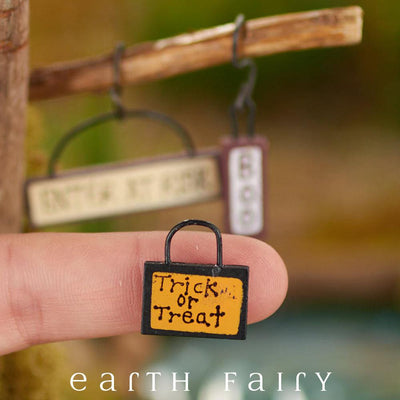Trick or Treat Signs, Set of 3, Close Up, from The Fairy Garden Miniature Halloween Collection by Earth Fairy