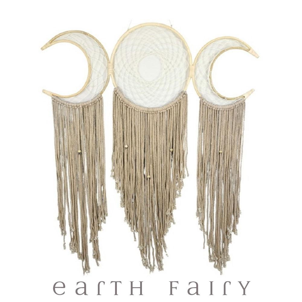 Triple Moon Dream Catcher - 116cm L | FREE SHIPPING | Earth Fairy
