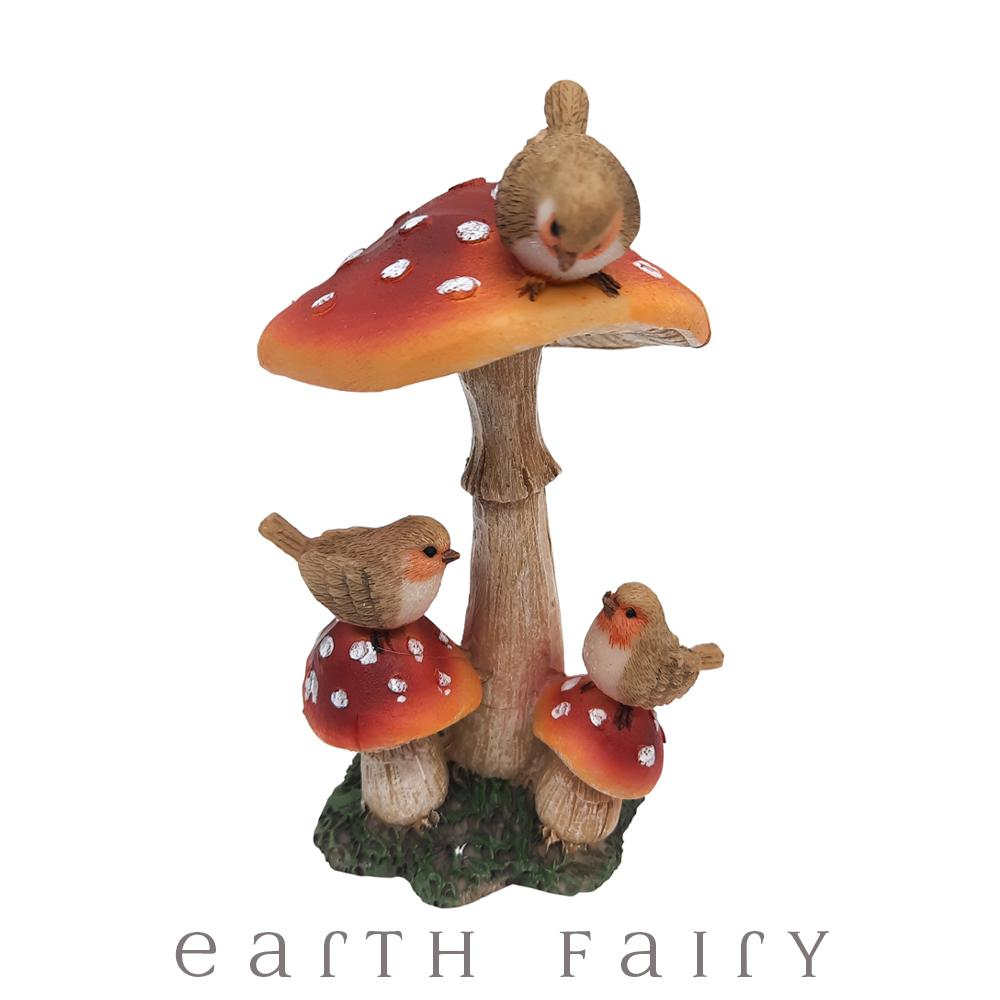 Triple Mushroom with Birds, from The Miniature Fairy Garden Bird Collection from Earth Fairy
