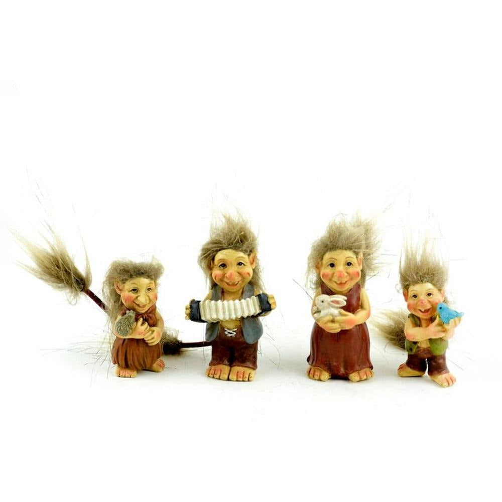 Troll Family, Set of 4, from The Miniature Fairy Garden Troll Figurine Collection by Earth Fairy