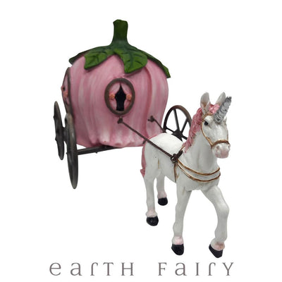 Unicorn Drawn Carriage, Front View, from The Fairytale Miniature Fairy Garden Collection by Earth Fairy