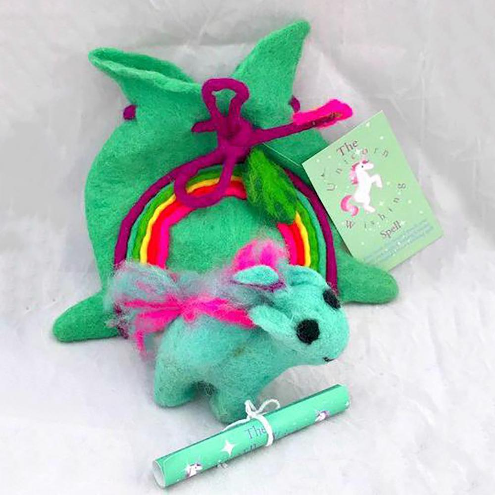 Unicorn Wishing Spell - Turquoise | Imaginative Play | Wool Felt Toys | Earth Fairy