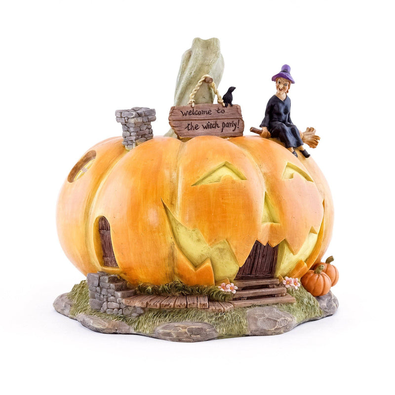 """Welcome to the Witch Party"" Large Halloween Jack o' Lantern House