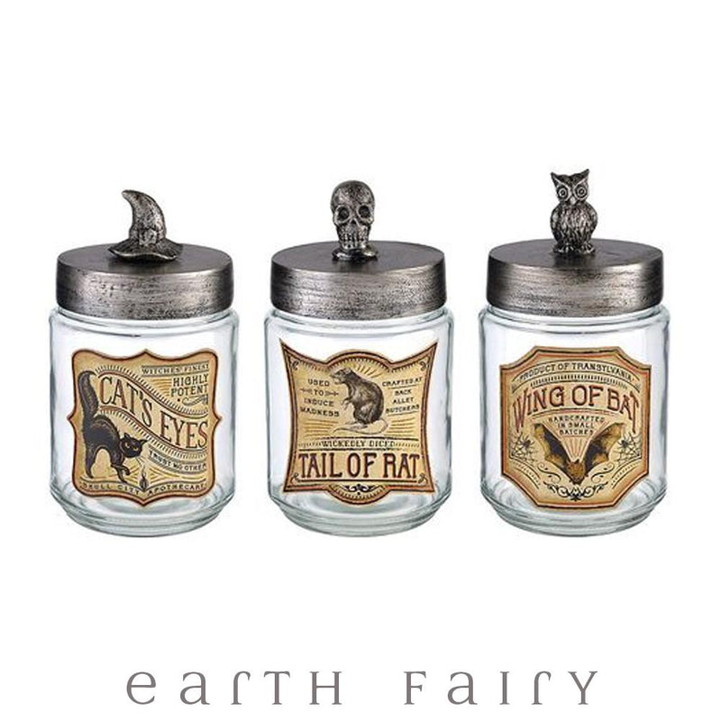 """Wing of Bat"" Owl Apothecary Jar 