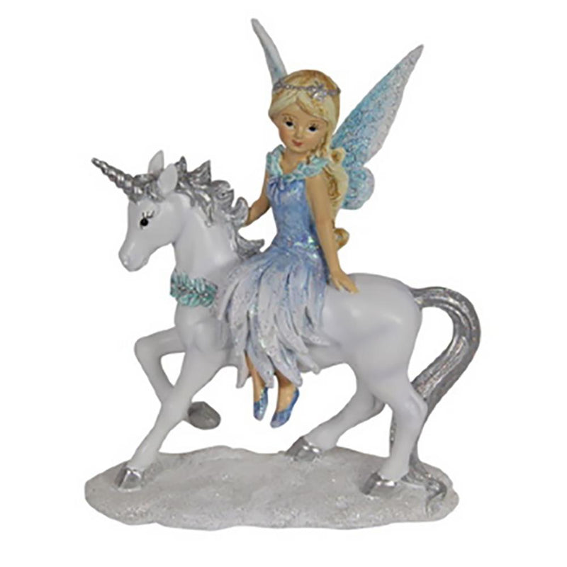 Winter Fairy on Unicorn - Frosty Pink | Fairy Figurines - Australia | Earth Fairy