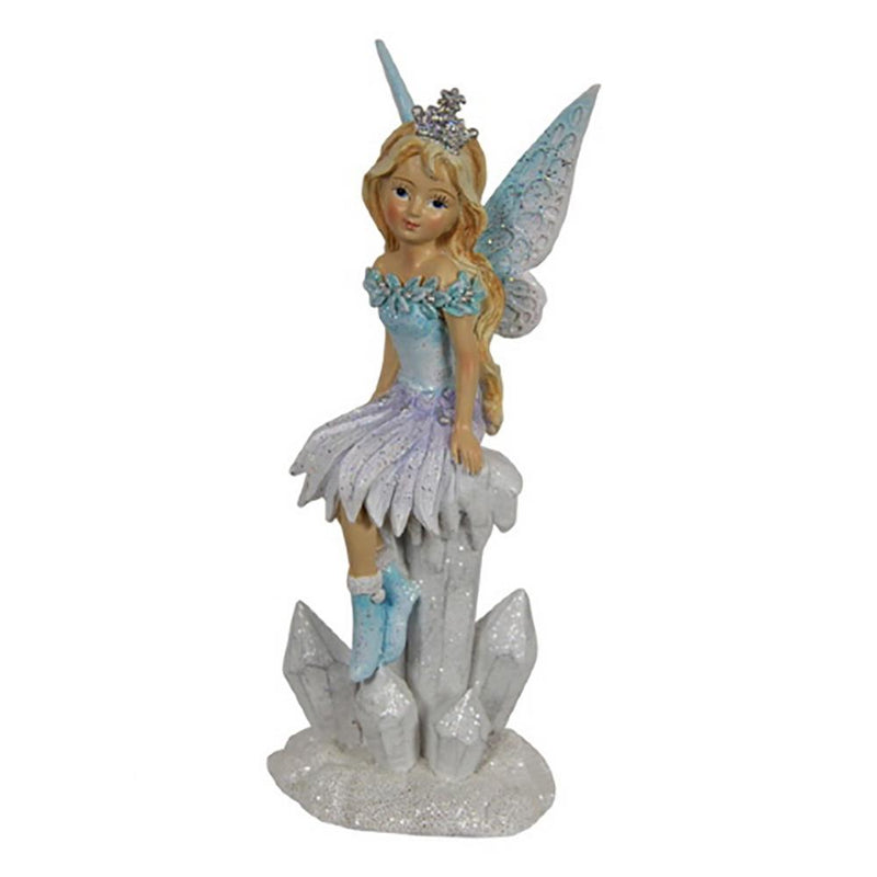 Winter Fairy - Sitting on Icicles - Frosty Pink | Fairy Figurines - Australia | Earth Fairy
