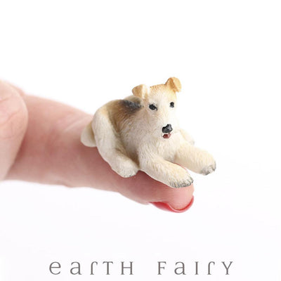 Wire Hair Fox Terrier (Hand Held) from The Fairy Garden Miniature Animal Collection by Earth Fairy