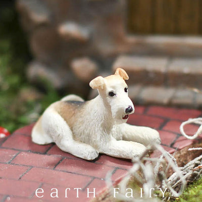 Wire Hair Fox Terrier (Displayed in a Garden Setting) from The Fairy Garden Miniature Animal Collection by Earth Fairy