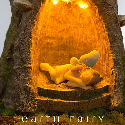 Wise Old Forest Tree - Extra Large - with Fairy Aurora Sleeping | Fairy Garden Landscaping - Australia | Earth Fairy