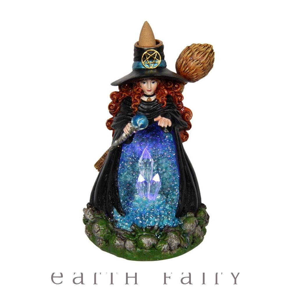 Witch Light Up Crystal Cave Back Flow Incense Burner | Witchy Things - Fantasy Gifts | Earth Fairy