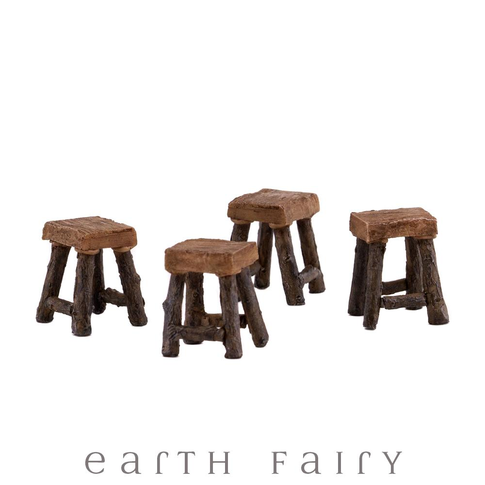 Wood Stools - Set of 4 - Micro from the Fairy Garden Furniture Collection by Earth Fairy
